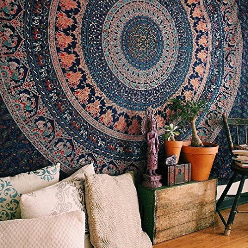Handicrunch Indian Elephant Peacock Mandala Tapestry ,Indian Hippie Tapestry, Wall Hanging,Bohemian Wall Hanging,New Age Tapestry,Mandala Typestry