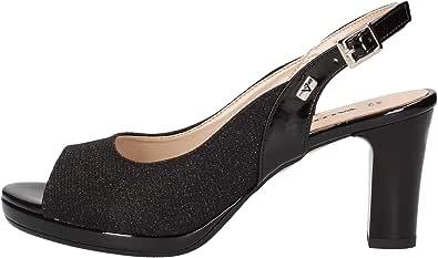 Valleverde Sandalo Donna Sintetico 28340 Platino o Nero o Silver. Una Calzatura Comoda Adatta per Tutte Le Occasioni. Primavera Estate 2020