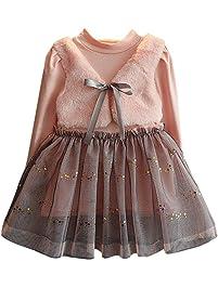Vestido de invierno, RETUROM Invierno cálido bebé chica bowknot jerseys patchwork vestidos de princesa tutú