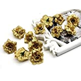 SATYAM KRAFT Artificial Eden Rose Flowers for Home Decoration and Craft (Golden, 12 Pieces, 4 cm)