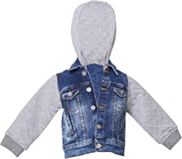 Tales & Stories Dark Blue Denim Casual Hooded Jacket for Boys