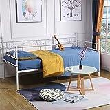 DORAFAIR Cadre de lit en Métal Canapé Lit Banquette, Lit en Fer pour Enfants ou Adulte, Blanc