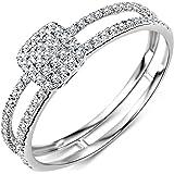 Miore - Anillo de compromiso para mujer de oro blanco de 9 quilates y oro 375 con diamantes brillantes de 0,24 quilates