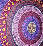 Rawyal- Barhmeri Circle of Flowers Tapestry,Multi-colored Mandala Tapestry Indian Wall Hanging 54 X 84 Inches