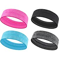 4 Pack Sports Headband for Women, HIDARLING Lightweight Headband Sweat Band, Sweatband Non Slip