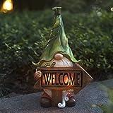 LA Jolie Muse Figurine de Jardin en résine - Tomte de Noël à Longue Barbe Tenant Un Panneau de Bienvenue avec des lumières LE