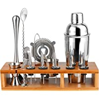 Cocktail Making Set, Premium Cocktail Shaker Bar Bartender Kit - 13 Piece Bar Tool Set with Stylish Bamboo Stand