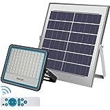 LEDMO 100W Faro LED da Esterno con Pannello Solare Bianco Freddo 6500K Faro Solare LED Esterno con Telecomando Materiale in A