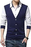 EYEBOGLER Men's Cotton Waist Coat Style Tshirt/T-Shirt