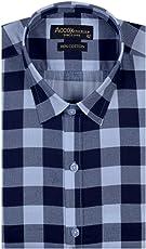 ACCOX Half Sleeves Formal Regular Fit Cotton Check Shirt for Men