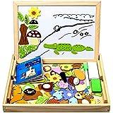 StillCool Puzzles de Madera Magnético 100 Piezas, Dibujo de Animal Colorido con Placa,Rompecabezas Pizarra con Caja para Niño