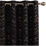 Amazon Brand - Umi Lot de 2 Rideau Occultant Thermiques Isolants a Oeillet Rideaux Salon Rideau Cuisine avec Motif Dore Noir
