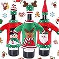 BETOY 3 Pezzi Tappo di Bottiglia di Vino di Natale, Bottiglia di Vino di Babbo Natale,Sacchetti di coperture per Bottiglie di