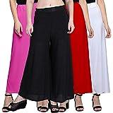 JAKQO Women's Bottom Wear Synthetic Palazzo (Free Size, Pack of 4)