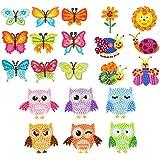 CREATIEES 21 Pièces Broderie Diamant pour Enfant 5D Peinture en Diamant, DIY Papillon Autocollants de Diamant Kits Animale Pe
