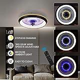LED Fan Plafonnier Moderne Nordique Dimmable Ventilateur Au Plafond Avec Lampe Ultra-Mince Invisible Lustre De Ventilateur Ul