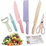 SP-Cow 6pcs Color Set de Couteaux de Cuisine,Anti-Eraflure, Anti-Erosion, Acier Inoxydable à Haute Résistance, avec Manche Co