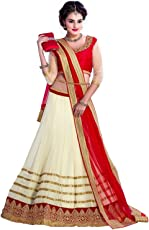Param Creation Women's Net Lehenga Choli with Dupatta, Free Size (Off-white, PC 1112)