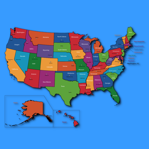American States And Capitals Amazoncouk Appstore For Android - Us state map placement quiz