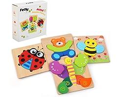 Felly Jouet Bebe - Puzzles en Bois, Jouets Montessori Enfant 1 2 3 4 Ans, Bébés Animaux Jeux Educatif Apprentissage, Puzzle à
