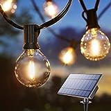Guirlande Lumineuse Solaire, BrizLabs 9.9M G40 avec 25 LED Ampoules Guirlande Guinguette Extérieur Rechargeable par USB Étanc