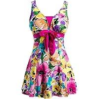 ECUPPER Women's Plus Size Swimsuit One Piece Swim Dress Tummy Control Swimwear