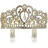 Pixnor Boda nupcial del Rhinestone pelo banda corona Tiara con peine dorado