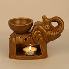 Pure Source India Elephant Shape Aroma Burner Good Quality Coming with 1 pcs Free Candles (Light Brown)