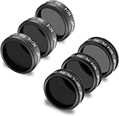 Neewer 6 Pieces Pro Lens Filter Kit for DJI Mavic Air Drone Quadcopter Includes: ND4, ND8, ND16, ND4/PL, ND8/PL, ND16/PL, Made of Multi Coated Waterproof Aluminum Alloy Frame Optical Glass(Black)
