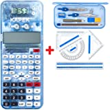 KAPEK Maths Set and Scientific Calculator Bundle. This Patented School Calculator and Geometry Set is the perfect all in one stationery set for secondary school - Blue