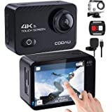 COOAU Native 4K 60fps 20MP Touch Screen WiFi Action Sport Camera EIS Stabilization Underwater Waterproof Cam with External Mi