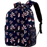 XiangHeFu Leichter Rucksack für Mädchen Jungen Schulreisetasche Daypack Blätter Bedruckter Sackpack