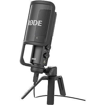 Rode NT-USB Microfono a Condensatore con Filtro Anti-pop e Supporto da Tavolo, Compatibile con iPad, Nero/Antracite