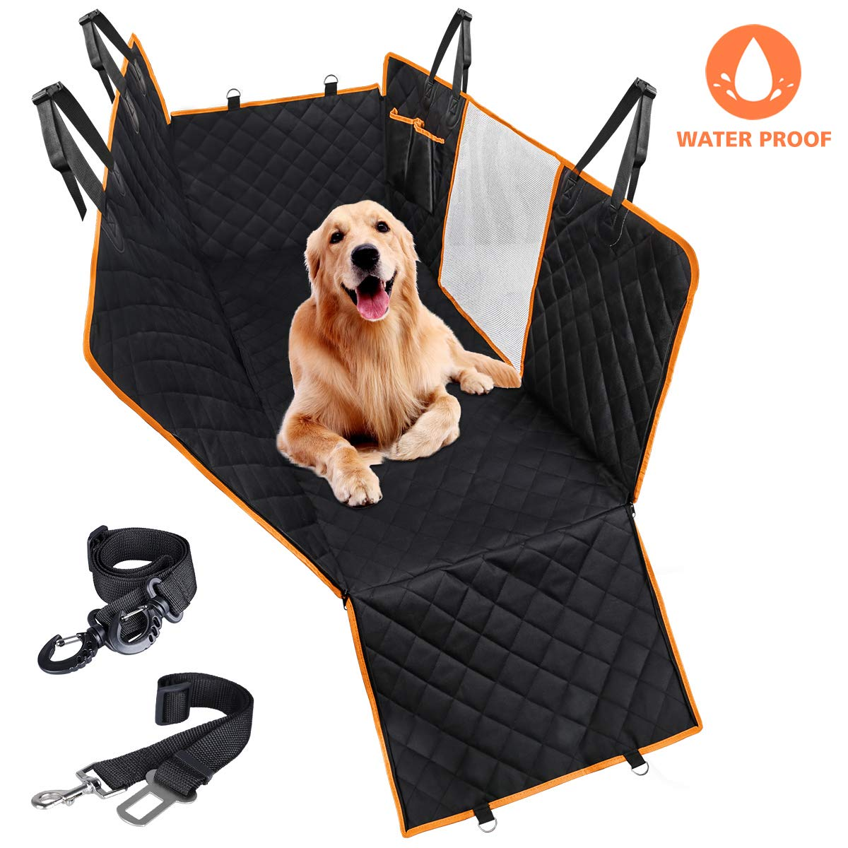 CLEEBOURG Dog Car Seat Cover Durable Scratchproof Waterproof Car Back Seat Cover for Dogs with Seat Anchors and 2 Dog Seat Belts, Dog Car Hammock for Different Cars