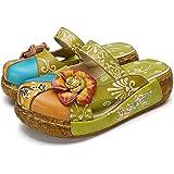 Women's Colorful Backless Slippers Flowers Leather Vintage Boho Platform Flat Sandals