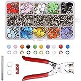 TWBEST Drukknop, set met tang, 200 sets drukknopen van metaal, 10 kleuren, naai-vrije knopen, gereedschap, prong gesp, kamsna