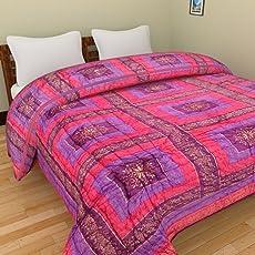 GRJ India Cotton Jaipuri Reversible Lightweight Rajasthani Print Single Bed Quilt (Orange)
