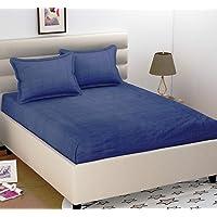 BADOTI Cotton 144 TC Bedsheet (Blue_Double)
