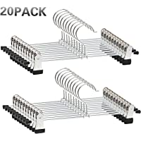 Trouser Hangers, 20 Pack Skirt Hangers with Adjustment Metal Grip Pant Hangers for Heavy Duty Durable Space Saving, Silver