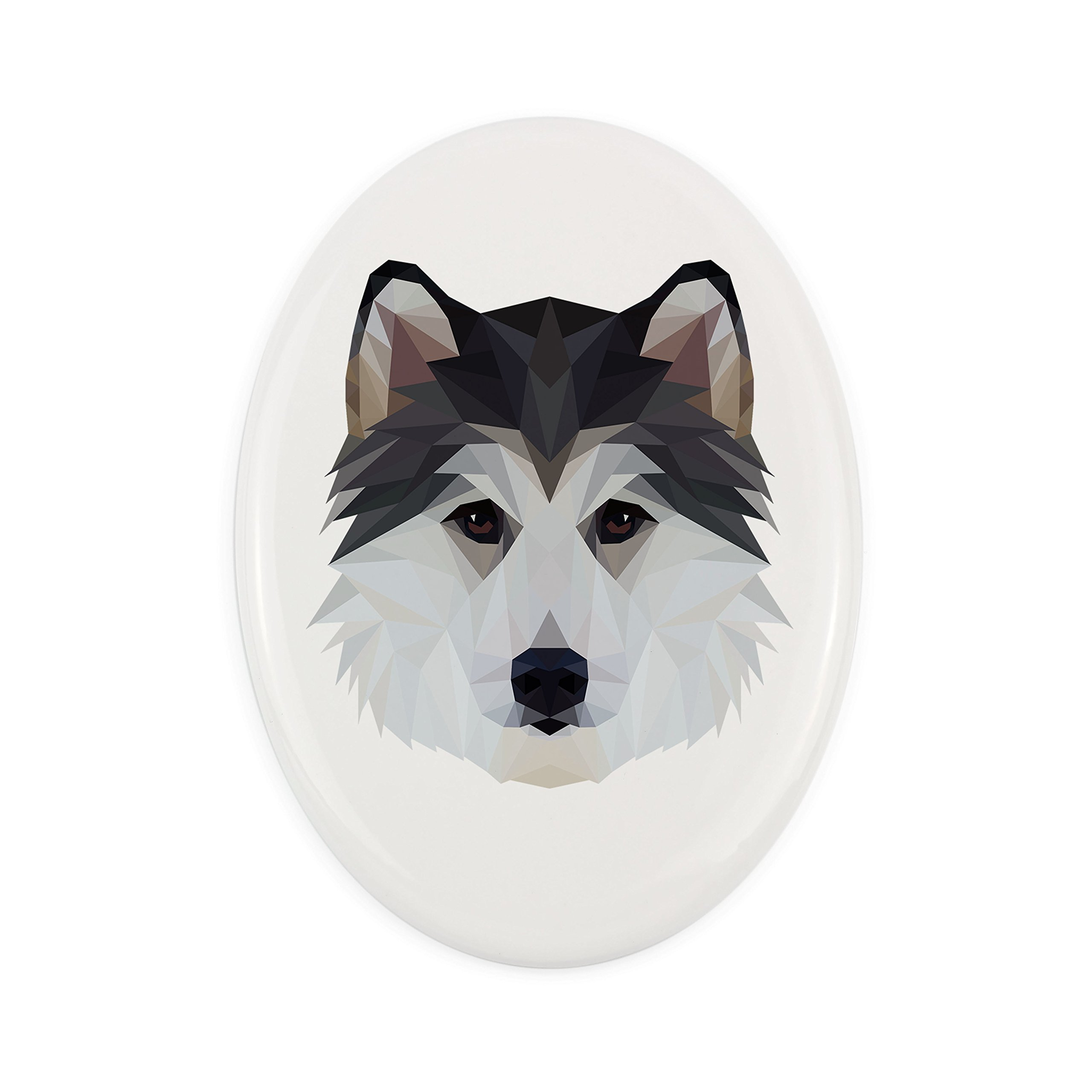 ArtDog Ltd. Siberian Husky, Tombstone ceramic plaque with an image of a dog, geometric