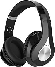 Mpow On-Ear Headphones Bluetooth Headphones with Noise Cancelling Stereo, Foldable Headband, Ergonomic Designed Soft Earmuffs, Built-in Mic, 13 Hours Playback Time for PC, Laptops and Smartphones (Standard-Black 2)