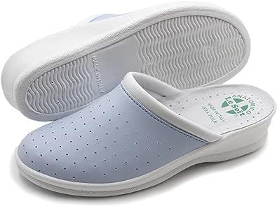Ciabatte Sanitarie Anatomiche Uomo e Donna, Scarpe Pantofole Ortopediche Confortevoli con Tomaia in Vera Pelle Traforata, Made in Italy