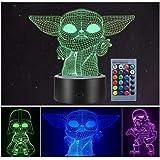 LOYALSE Star Wars 3D Illusion Lampe pour Enfants, 3 Modèle 16 Couleurs Changeantes Décor Lampe pour Chambre