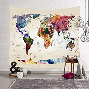 jeteven vintage world map tapestry wall hanging mandala indian