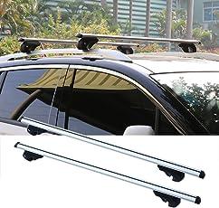 Binghotfire 2 x Universal Dachträger Alu Relingträger 150kg 130 cm abschließbar Lastenträger Dachgepäckträger