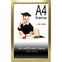 Clay Roberts A4 Gold Photo Frame, Picture Frame, Certificate Frame, Freestanding and Wall Mountable