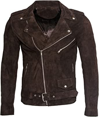 Men's Classic Brando Casual Brown Tan Suede Leather Biker Jacket