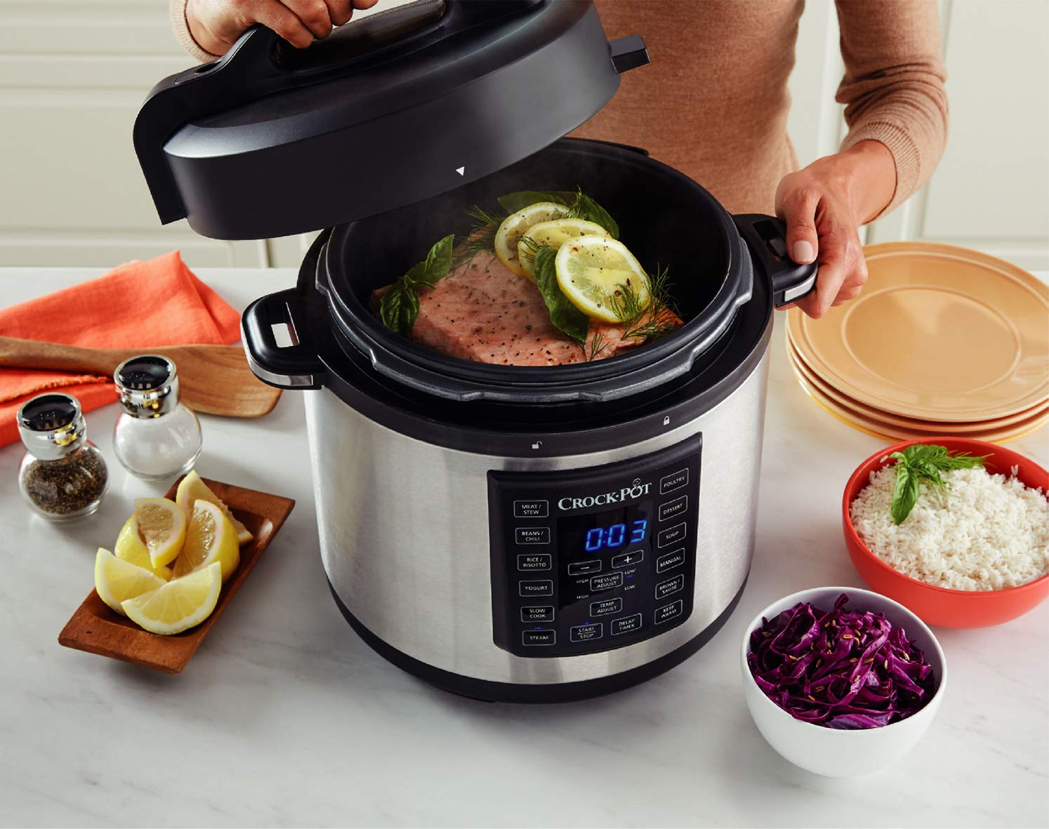 Crock-Pot Express Pressure Cooker CSC051, 12-in-1 Programmable Multi-Cooker, Slow Cooker, Steamer and Saute, 5.6 Litre…