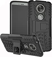 TecKraft MotoE5PlsMshKstndBlk_TK Armour Bumper Kickstand Hard Back Cover Case for Moto E5 Plus (Black Mesh)