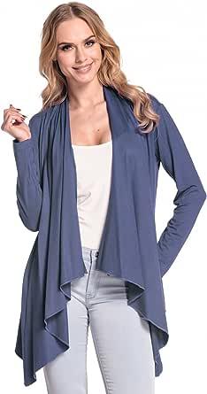 Glamour Empire Damen Wasserfall-Jacke Shirtjacke mit Lange Ärmel. 320
